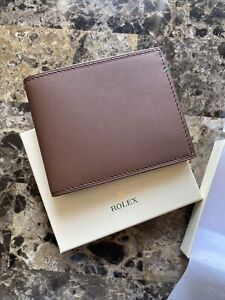 Authentic Rolex Bifold Wallet Genuine Cafe Leather Card Holder