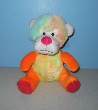 "12"" Multi Color Pastel Rainbow Orange Lion w/ Pink Nose Stuffed Plush Animal"