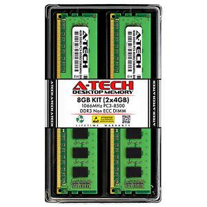 8GB 2 x 4GB PC3-8500 Desktop DDR3 1066 MHz DIMM 240-Pin Non-ECC Memory RAM 8G 4G