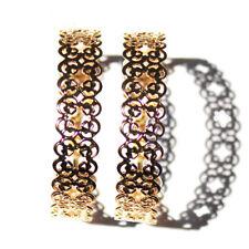 5.3cm wide gold tone cutout flower hoop earrings