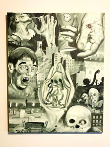 1960's James Ealey prison painting B&W death spider graveyard skull ghosts 30x24