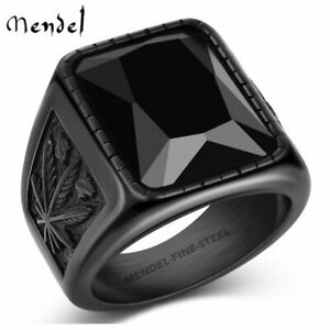 MENDEL Mens Stainless Steel Black Onyx Cannabis Ring Size 7 8 9 10 11 12 13 15