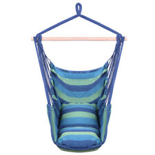 Distinctive Cotton Canvas Hanging Rope Chair with Pillows Blue Hammocks