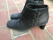 Etienne Aigner Saddle Black Leather Suede Horse Riding Ankle Boots Booties 6 M