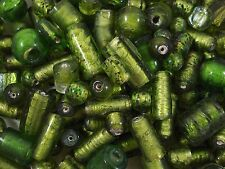 Foil Beads Glass 100g Peridot Asst Smaller Sizes/Shapes Jewellery FREE POSTAGE