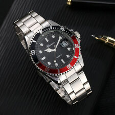 Men`s Luxury Sports Black & Red Dial & Date Quartz Stainless Steel Wrist Watch.