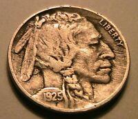 1925-S Buffalo Nickel Ch VF Nice Grey Toned Original Indian Head 5 Cent USA Coin