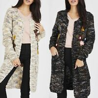 Women Ladies Open Front Floral Embroidery Sequin Knitted Long Cardigan Knitwear