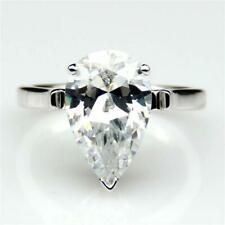 5.00Ct White Pear Cut Diamond Solitaire Engagement Ring 14k White Gold Finish