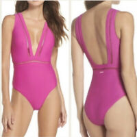 TED BAKER LONDON Pink Pointelle V Neck One Piece Swimsuit NWT Ted Baker Size 5