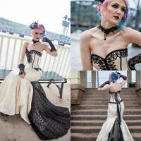 Gothic Mermaid Wedding Dresses Sweetheart Applique Satin Steampunk Bridal Gowns