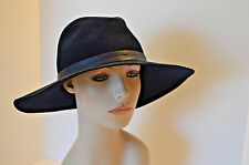 Rag And Bone Navy Blue 100% Wool Fedora Trilby Leather Hat Band NWT