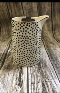Thyme & Table Creamer Dot Black White Gold Trim Stoneware Mix Match HTF