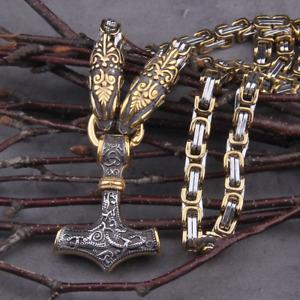 Anhänger Thors Hammer Edelstahl mit Königskette 50/60/70cm Wikinger Halskette