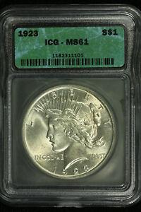 Peace Silver Dollar. 1923 P. ICG MS61  Lot #9035-234-1101