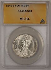 1943-S Walking Liberty Silver Half Dollar ANACS MS-64 (2)
