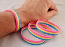 "PANSEXUAL FLAG - LGBT Pride Silicone Wristband Bracelet "" NEW DESIGN """