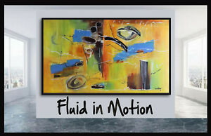 72 Original x Large abstract painting art deco by Elsisy Blue orange yellow
