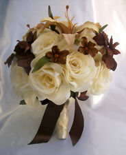 17 Piece Package Wedding Bridal Cascade Bouquet Silk Flowers IVORY BROWN CREAM