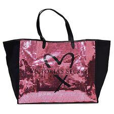 Victoria's Secret Tote Bag Large Shopper Black Pink Sequins Bling Heart Vs New