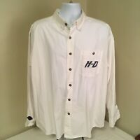Harley Davidson Mens Long Sleeve Shirt Embroidered XL White Metal Buttons FS!