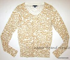 GAP Leopard Cardigan Sweater Womens XS Cream Tan Animal Print Long Sleeve
