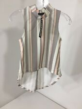BOOHOO WOMEN'S LEXI PASTEL STRIPED SPLIT BACK CREPE TOP MULTICOLOR UK:6/US:2 NWT