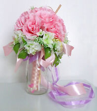 Artificial Flowers Pink Bouquet Bridal Posy Rose Silk Flower For Wedding