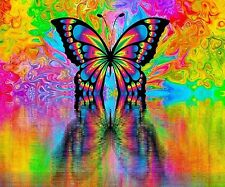 PSYCHEDELIC BUTTERFLY REFLECTION COMPUTER MOUSE PAD  9 x 7
