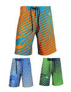 NFL Football Team Logo Poly Stripes Swimsuit Board Shorts - Pick Your Team!