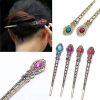 Korea Vintage Hair Stick Rhinestone Hair Chopsticks Hairpin Chignon Pin Handmade