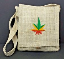 Hemp Purse Pot Leaf Embroidered Hippie Boho Crossbody Shoulder Bag Eco Friendly