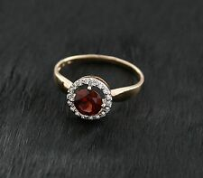 Russian Rose red Gold 585 14k Gemstone Garnet Ring Size M-16.5 gift boxed