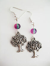 Pretty Silver Plated Tree of life Earrings with Pink/Green Glass Beads Pierced
