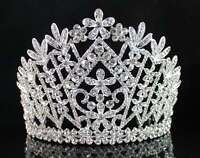 MAGNIFICIENT AUSTRIAN RHINESTONE CRYSTAL CROWN TIARA W// COMBS PAGEANT PROM H1397