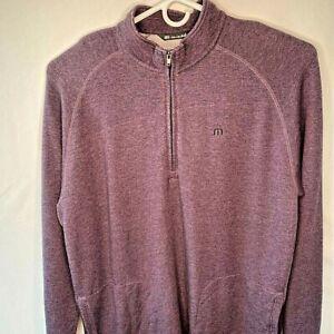 Travis Mathew Mens Golf Jacket Purple Heathered Long Sleeve 1/4 Zip Stretch XXL
