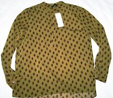 French Connection Elise Crepe Light Collarless Shirt brown Size M New Tags BNWT