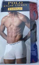 NWT Polo Ralph Lauren Mens Underwear Boxer Briefs 3 Pack Classic Fit Pony Logo L