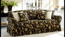 Tennyson onyx black By Waverly One Piece Loveseat Slipcover new