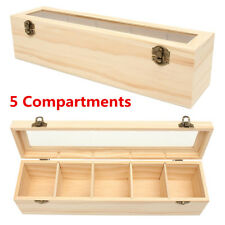 5 Slot Spice Tea Bag Caddy Wooden Box Wood Holder Storage Container W/ Glass Lid