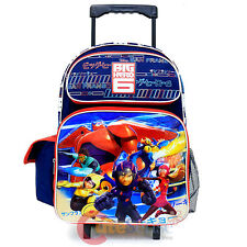 "Big Hero 6  Large School Roller Backpack 16"" Hamada Baymax Rolling Bag  City"