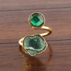 Stylish Green Quartz Petrol Green Geode Druzy Yellow Gold Plated Adjustable Ring