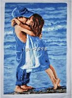 "New Finished Complete Cross Stitch Needlepoint""First Kiss""Wall Decor Gift"