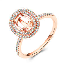 14K Rose Gold Wedding Jewelry Oval 7x5mm Double Halo Natural Diamonds Ladys Ring