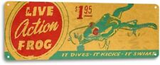 Live Action Frog Lures Fishing Boat Bait Retro Box Rustic Fish Decor Sign