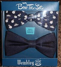 NEW mens WEMBLEY 2-piece BOW TIE SET pre-tied NAVY adjustable SNOWMAN polyester