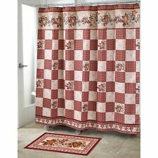 Country Heart Star Berry Primitive Checker Fabric Shower Curtain & Hooks Rug Set