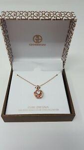Giani Bernini 18K rose gold over sterling silver necklace flower pendant