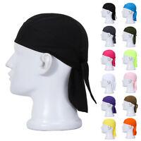 Black Bandana Zandanna Do Du Rag Durag Skullcap Hat Shaped Fitted Cap plain Cosy