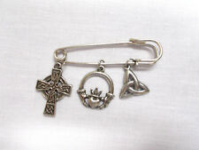 SAFETY PIN  WITH 3 CELTIC CHARMS CROSS - CLADDAGH - TRIQUETRA KNOT BROOCH PIN